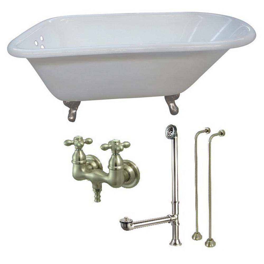 Petite 4.5 ft. Cast Iron Clawfoot Bathtub in White and Faucet