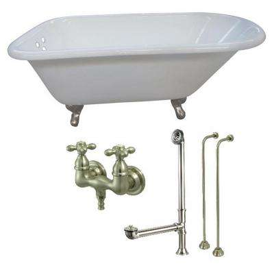 Petite 4.5 ft. Cast Iron Clawfoot Bathtub in White and Faucet Combo in Satin Nickel