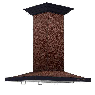 ZLINE 30 in. Island Mount Range Hood in Embossed Copper