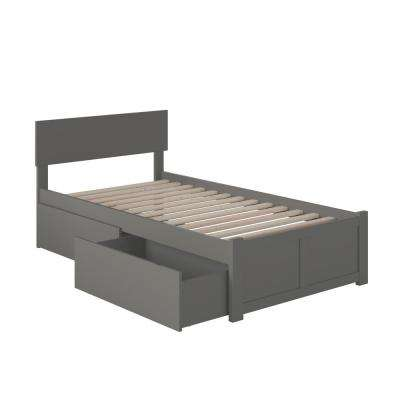Orlando Twin XL Platform Bed with Flat Panel Foot Board and 2 Urban Bed Drawers in Grey