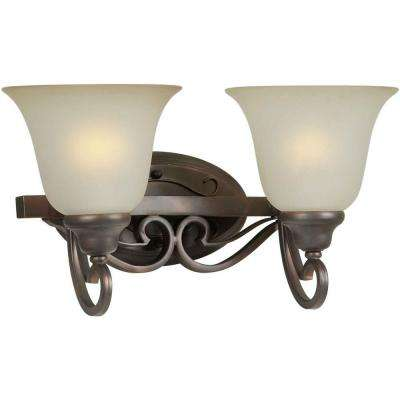 2-Light Antique Bronze Bath Vanity Light with Shaded Umber Glass
