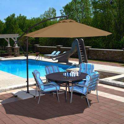 Santiago 10 ft. Octagonal Cantilever Patio Umbrella in Stone Olefin
