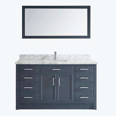 Calais 60 in. W x 22 in. D Vanity in Pepper Gray with Marble Vanity Top in Gray with White Basin and Mirror