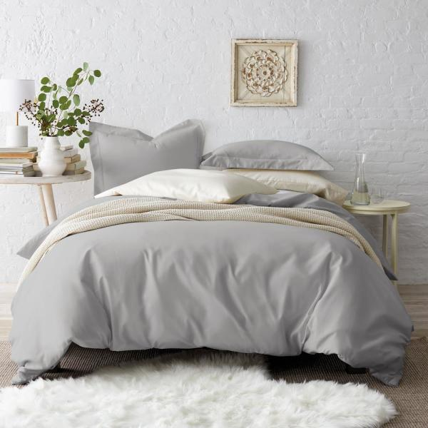 The Company Store Silver Sateen King Duvet Cover