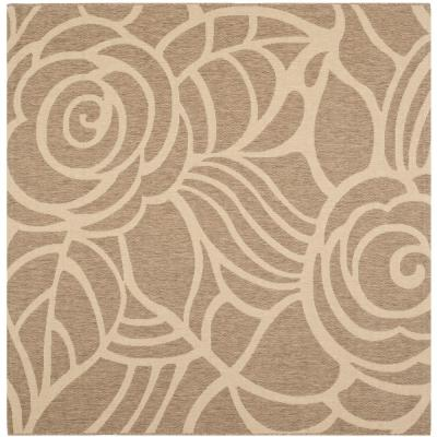 Safavieh Courtyard Coffee/Sand 8 ft. x 8 ft. Indoor/Outdoor Square Area Rug