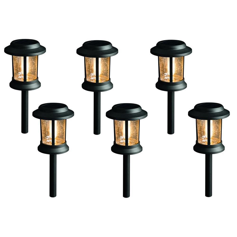 Solar Black Outdoor Integrated LED 3000K 12-Lumens Vintage Bulb Seedy Glass Landscape Pathway Light Set (6-Pack)