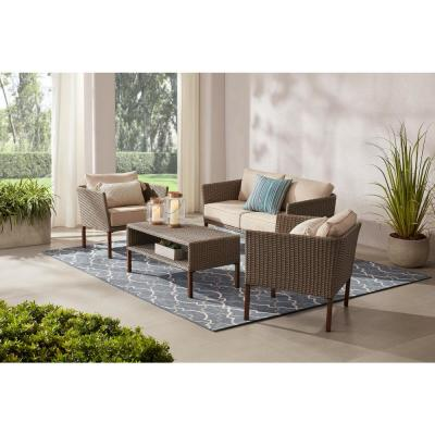 Oakshire 4-Piece Wicker Outdoor Deep Seating Set with Tan Cushions