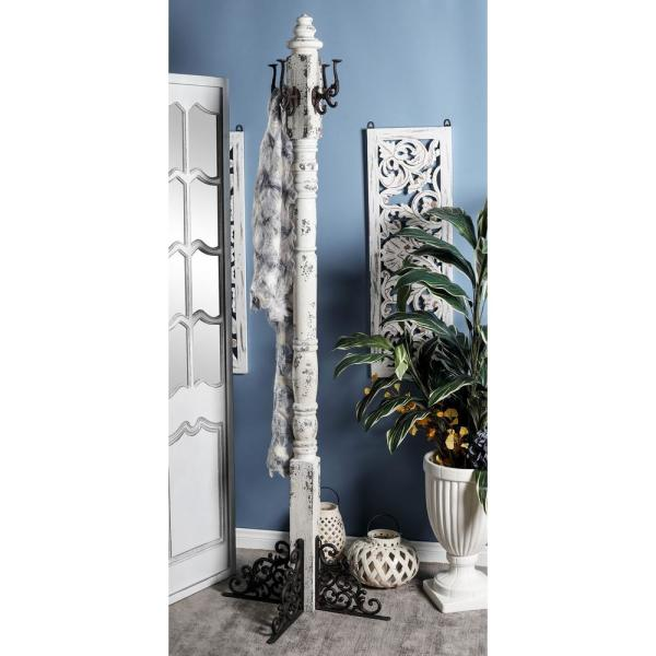Litton Lane White Wood and Iron Coat Rack with Black Accents
