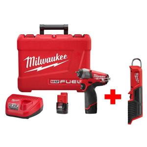 Milwaukee M12 FUEL 12-Volt Lithium-Ion Brushless Cordless 1/4 inch Impact Wrench Kit with M12 LED Stick Light (Tool... by Milwaukee