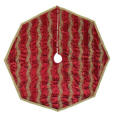 60 in. Yule Christmas Red Glam Decor Tree Skirt