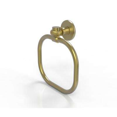 Continental Collection Towel Ring with Twist Accents in Satin Brass