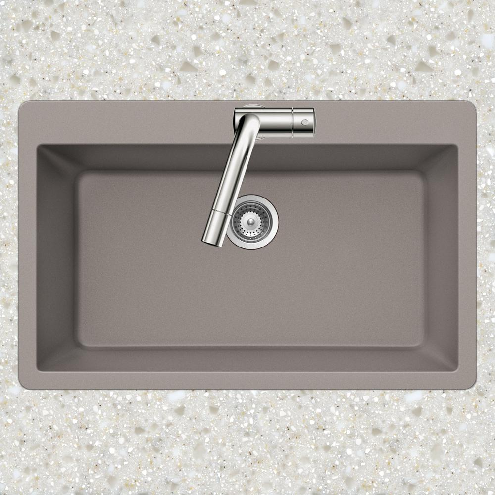 HOUZER Drop-in Quartz 33 in. 1-Hole Topmount Large Single Bowl Kitchen Sink  in Taupe