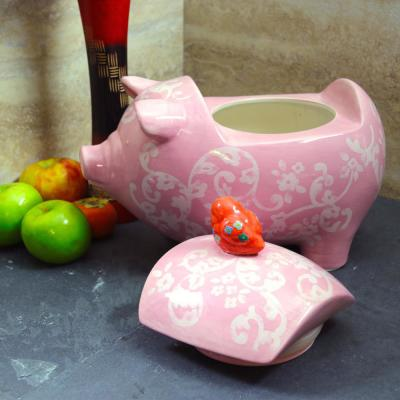 Life on The Farm Cookie Jar in Pink and Pig Shaped Stoneware Material