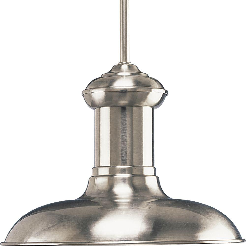 Brookside Collection 1-Light Brushed Nickel Mini Pendant with Metal Shade
