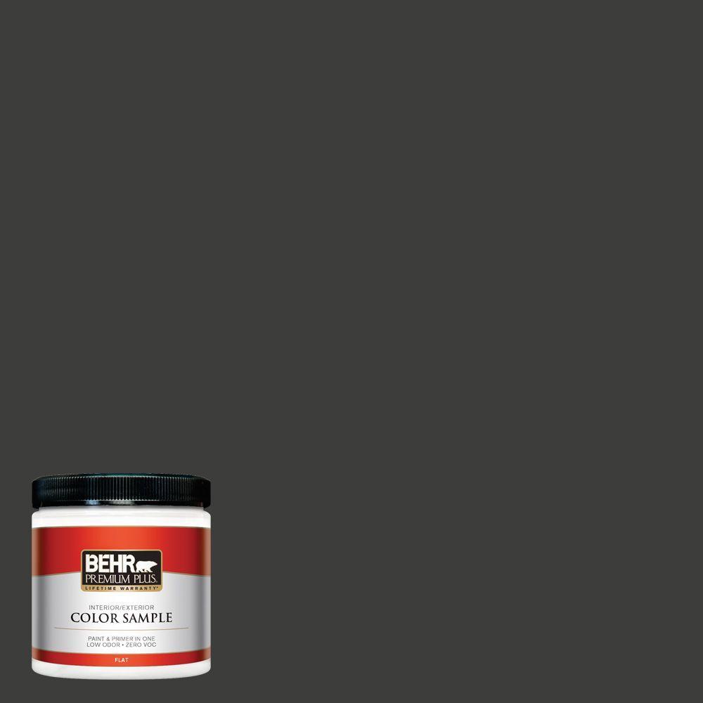 BEHR Premium Plus 8 oz. #S-H-790 Black Suede Interior/Exterior Paint Sample