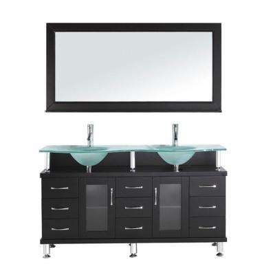 Vincente Rocco 60 in. W Bath Vanity in Espresso with Glass Vanity Top in Aqua with Round Basin and Mirror and Faucet