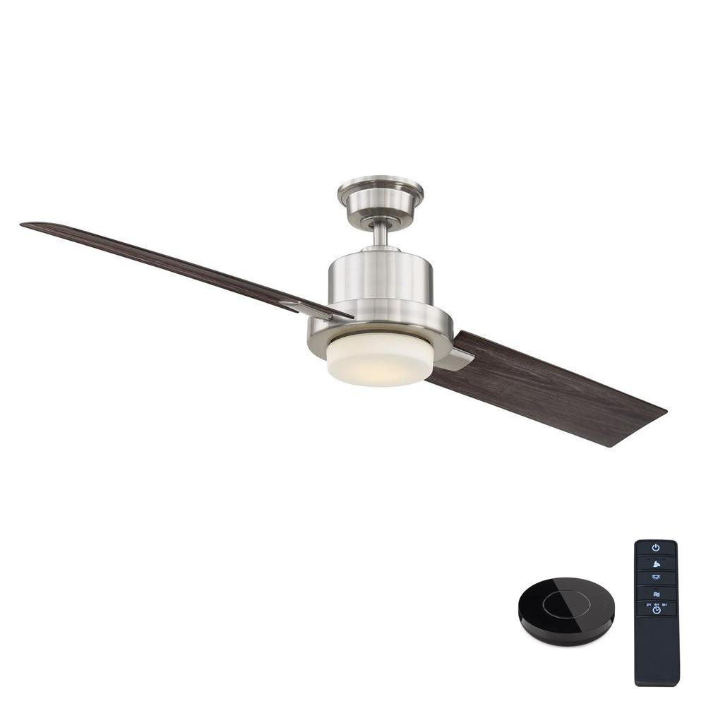 Home Decorators Collection Radley 60 in. LED Brushed Nickel Ceiling Fan with Light and Remote Control works with Google and Alexa