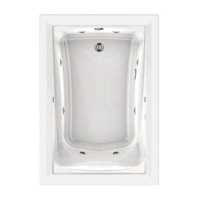 Green Tea 60 in. x 42 in. Reversible Drain EcoSilent EverClean Whirlpool Tub in White