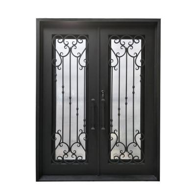 72 in. x 96 in. Matte Black Right-Hand Inswing 1 Lite Clear Double-Glazed Iron Prehung Front Door