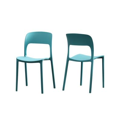 Kipford Teal Plastic Armless Chairs (Set of 2)