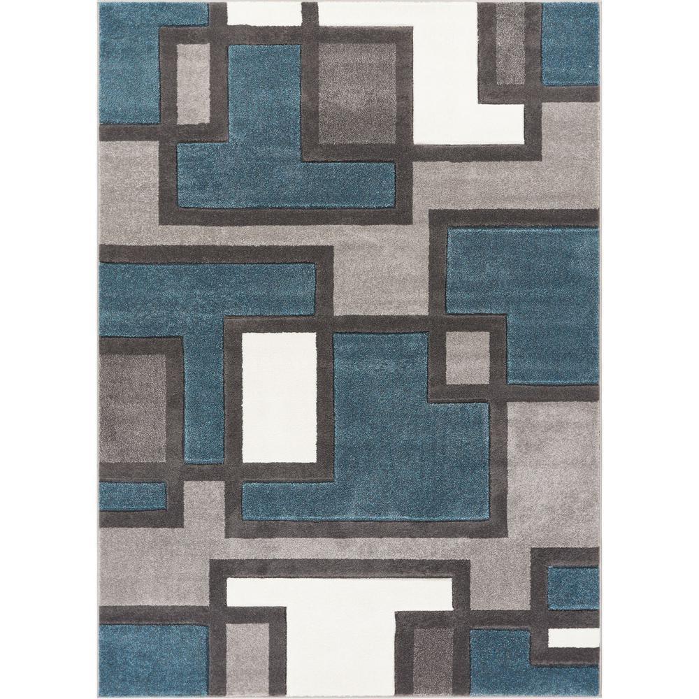 Ruby Imagination Squares Blue 5 ft. x 7 ft. Modern Area Rug