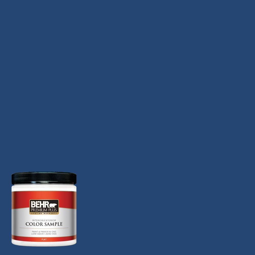 BEHR Premium Plus 8 oz. #S-H-580 Navy Blue Flat Interior/Exterior Paint and Primer in One Sample