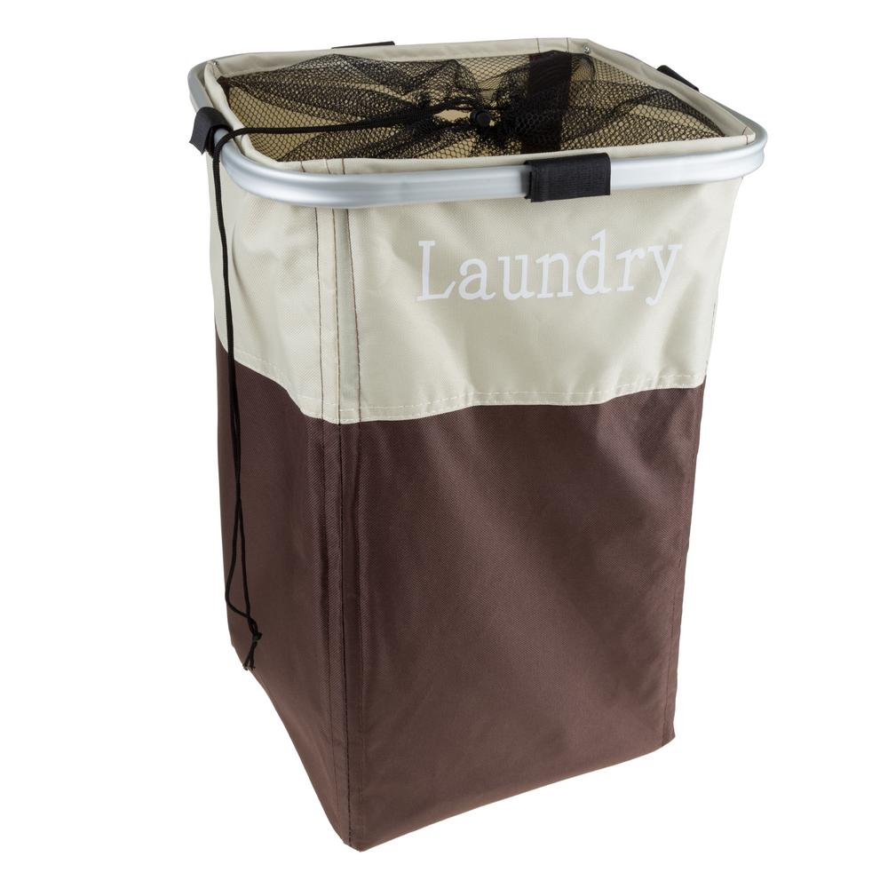 Brown Collapsible Canvas Laundry Basket with Mesh Drawstring Closure