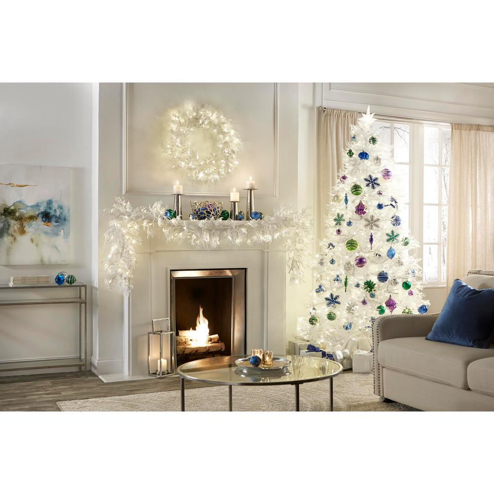Home Accents Holiday 7 5 Ft Pre Lit Led Winter Crest Artificial Christmas Tree With 600 Warm White Micro Dot Lights
