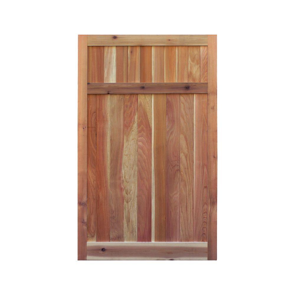 3.5 ft. H W x 6 ft. H H Western Red Cedar Flat Top Solid Lattice Fence Gate