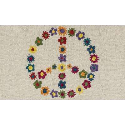 Skylar Lifestyle Collection Ivory/Multi 2 ft. 3 in. x 3 ft. 9 in. Flower Peace Accent Rug