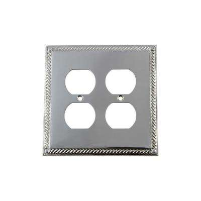 Rope Switch Plate with Double Outlet in Bright Chrome