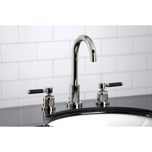 Kingston Brass Kaiser 8 In Widespread 2 Handle Bathroom Faucet In Polished Nickel Hfsc8929dkl The Home Depot