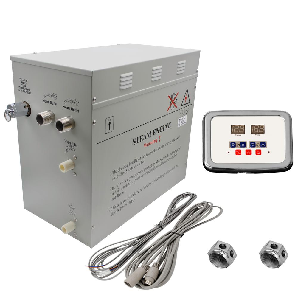 Steam Planet Superior 12kW Self-Draining Steam Bath Generator with  Waterproof Programmable Controls and 2 Chrome Steam Outlets