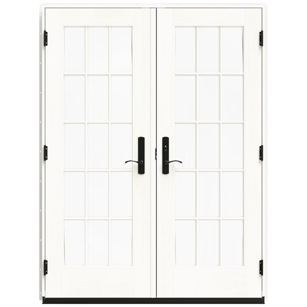 Jeld Wen 60 In X 80 In W 4500 White Clad Wood Left Hand 15 Lite French Patio Door W White