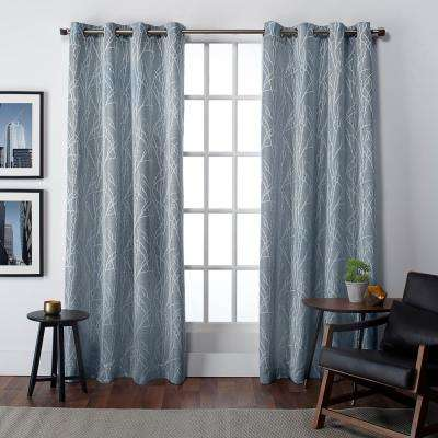 Finesse 54 in. W x 84 in. L Jacquard Grommet Top Curtain Panel in Steel Blue (2 Panels)