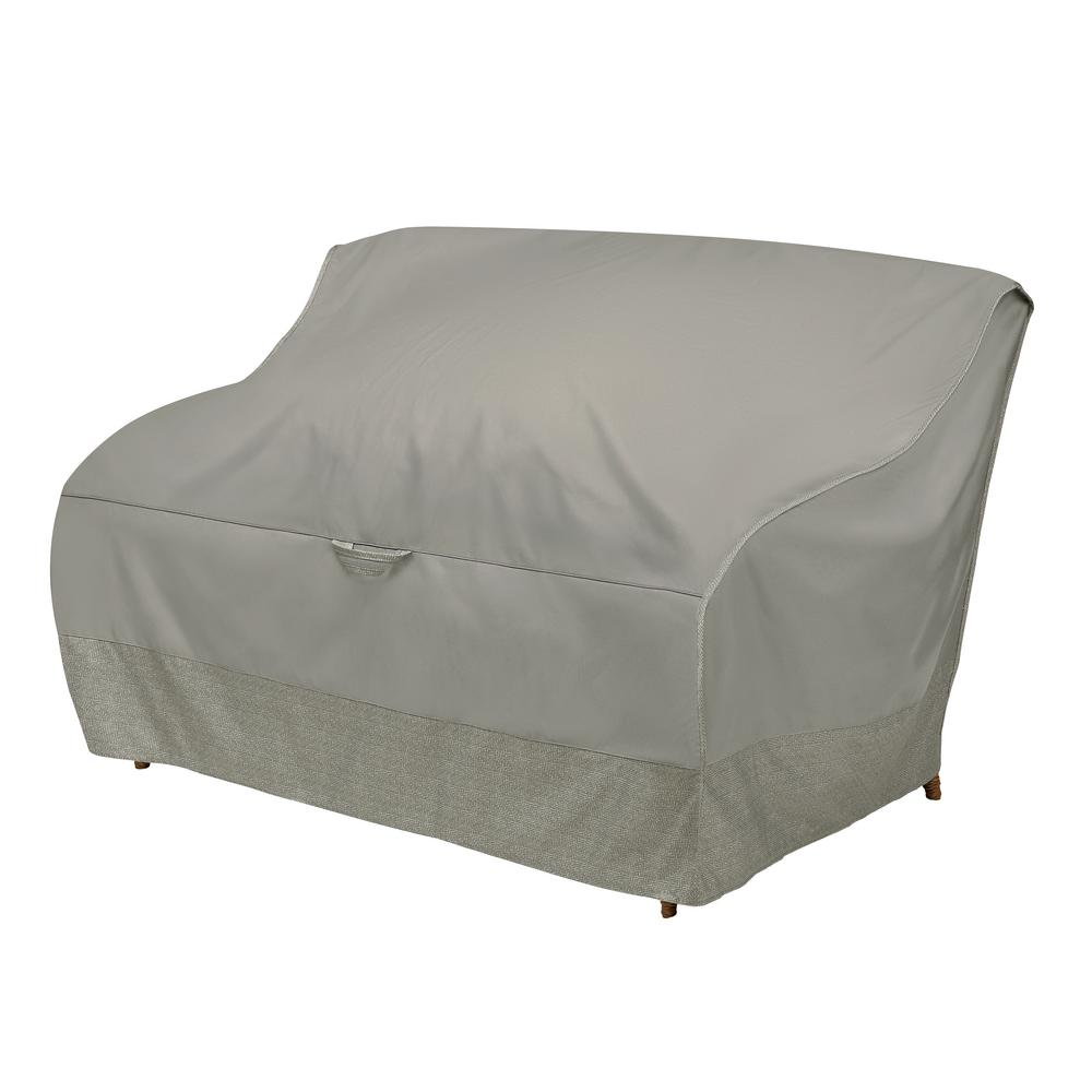 52 in. Patio Loveseat Cover with Integrated Duck Dome in Moon Rock