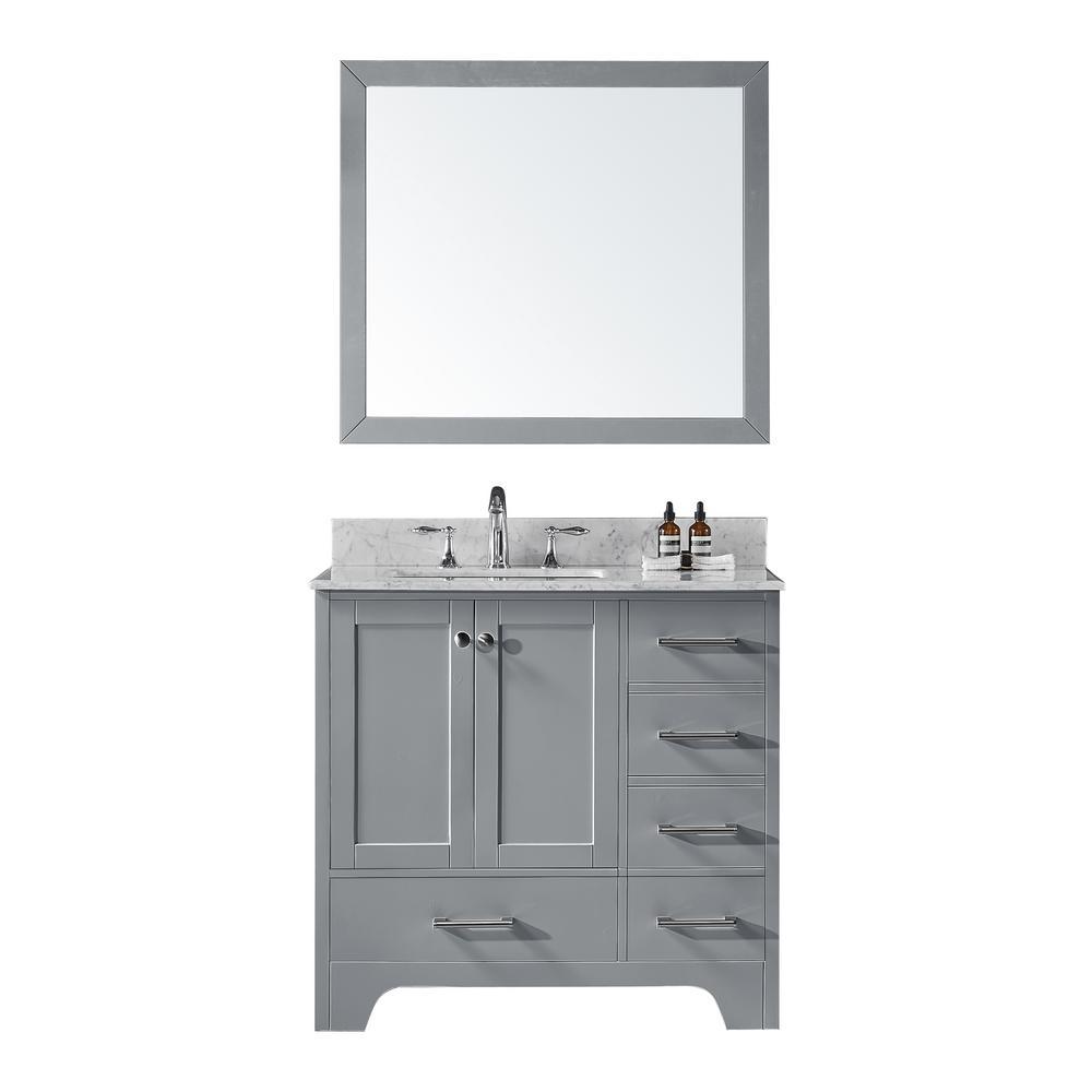 Sink Vanity Taupe Grey Vanity Top White Marble Mirror Set Vanities
