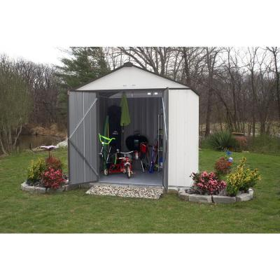 8 ft. WH x 7 ft. H x 7 ft. D EZEE Galvanized Steel High Gable Shed in Cream/Charcoal Trim with Snap-IT Quick Assembly