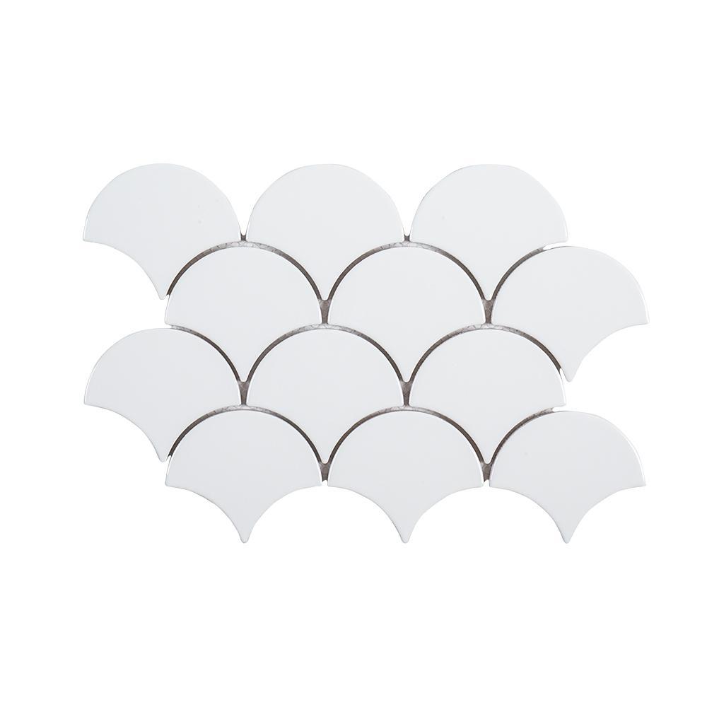Jeffrey Court Allegro White Fan 8.75 in. x 13 in. x 8 mm Ceramic Mosaic Tile