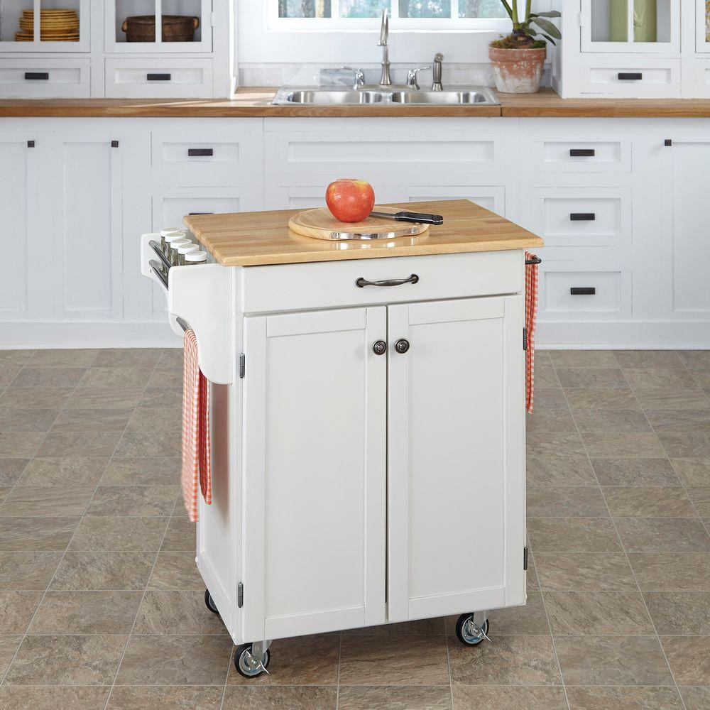 Home Styles Create-a-Cart White Kitchen Cart With Natural...