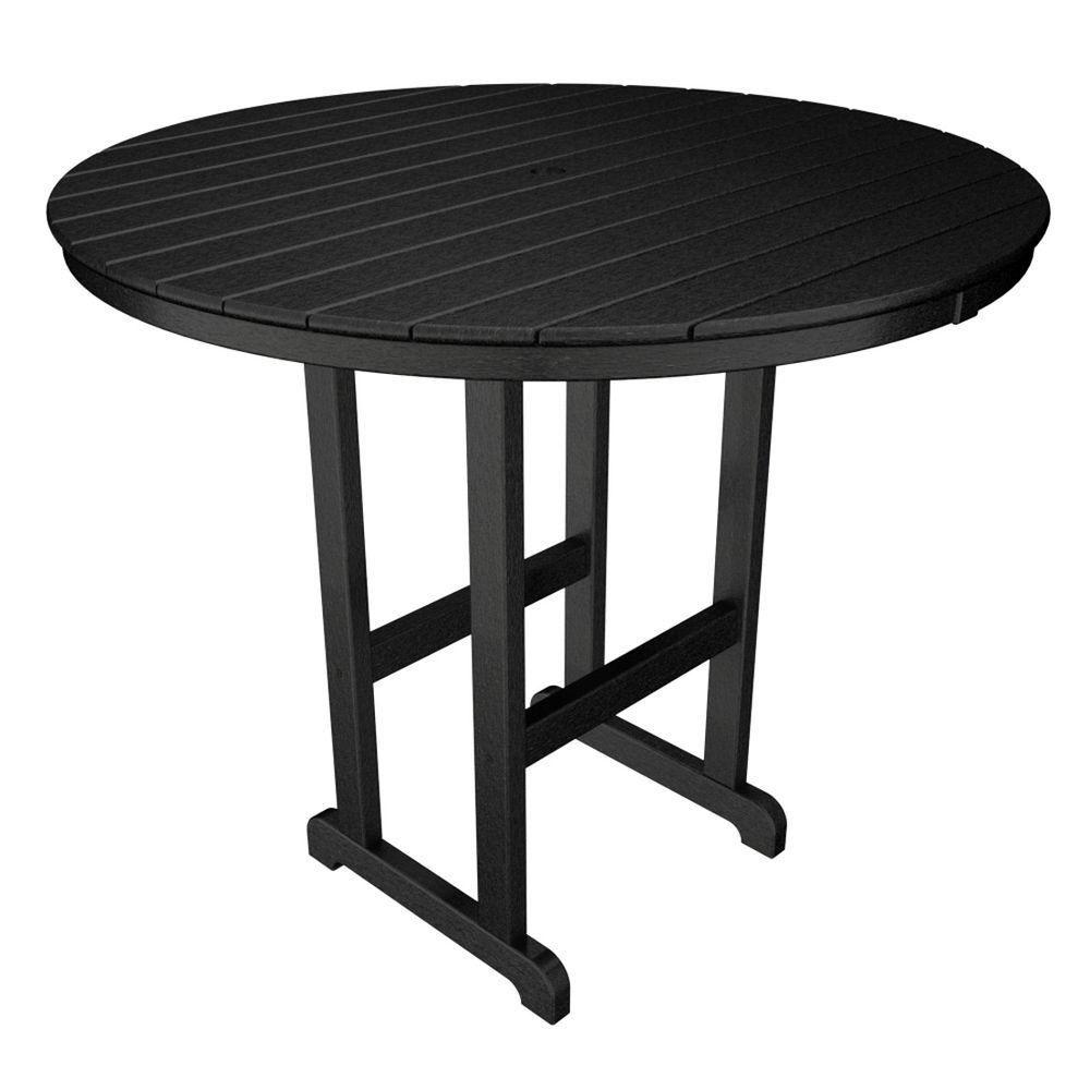 La Casa Cafe Black 48 in. Round Plastic Outdoor Patio Bar