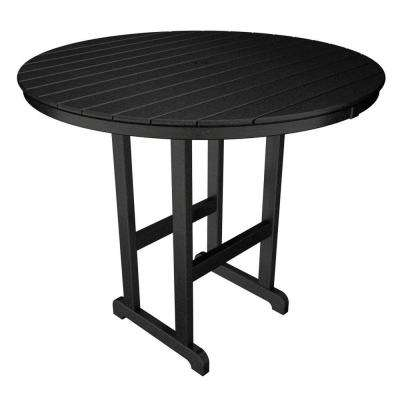 La Casa Cafe Black 48 in. Round Plastic Outdoor Patio Bar Table