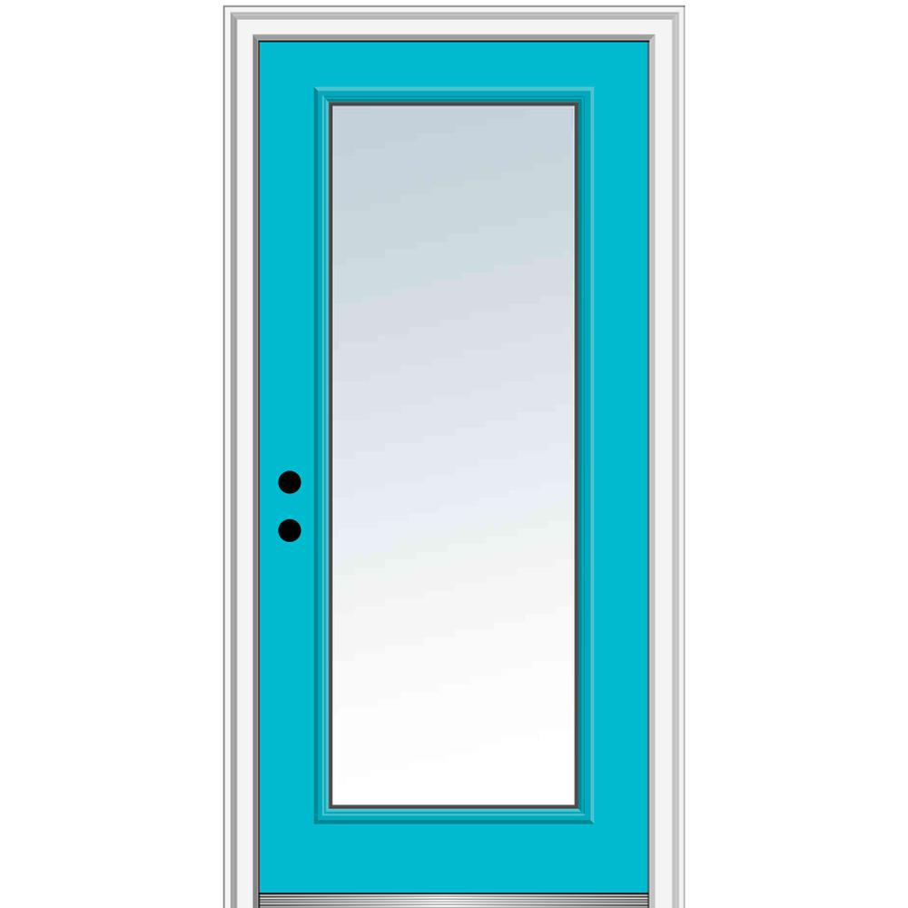 MMI Door 32 in. x 80in. Classic Right-Hand Inswing Full-Lite Clear Painted Fiberglass Smooth Prehung Front Door, 4-9/16 in. Frame