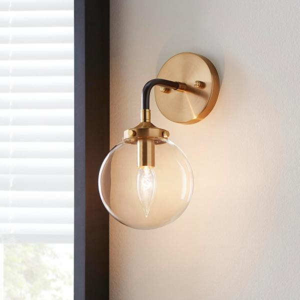Home Decorators Collection 1 Light Matte Black And Antique Gold Wall Sconce Tn 75432 The Home Depot