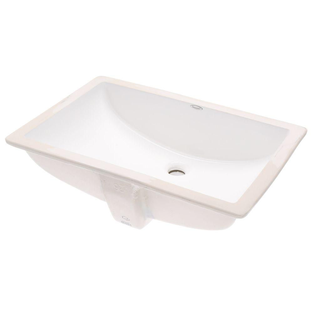 Studio Rectangular Undermount Bathroom Sink In White