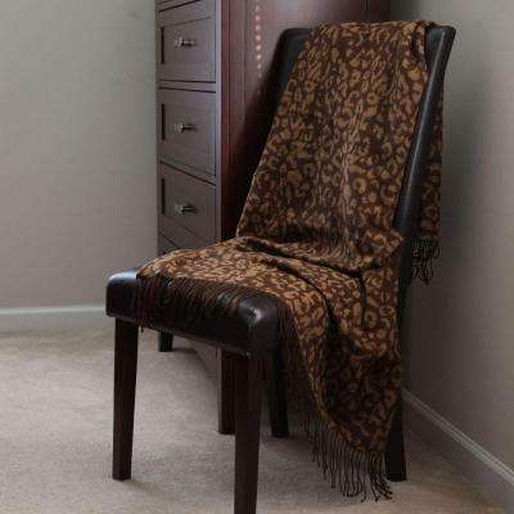 Gold Jacquard Polyester Throw Blanket