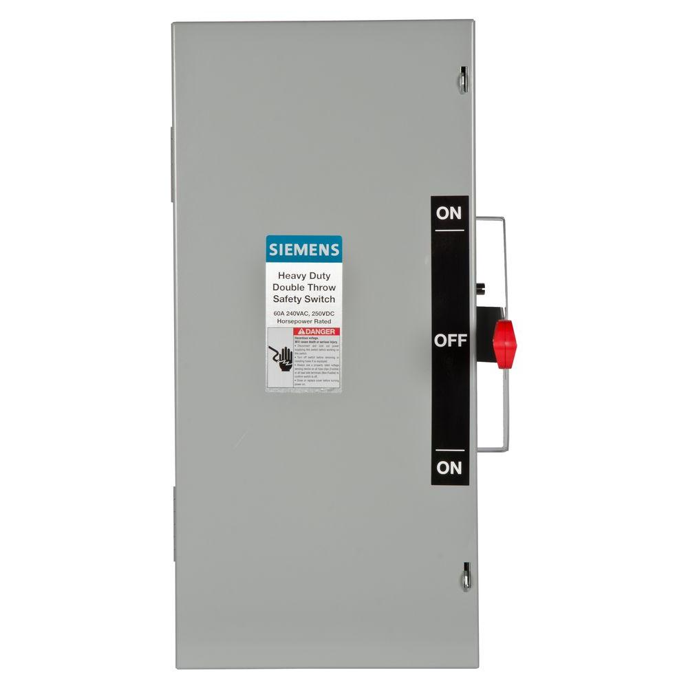 siemens double throw 60 amp 240 volt 2 pole indoor non fusible rh homedepot com siemens 100a manual transfer switch siemens 100 amp manual transfer switch