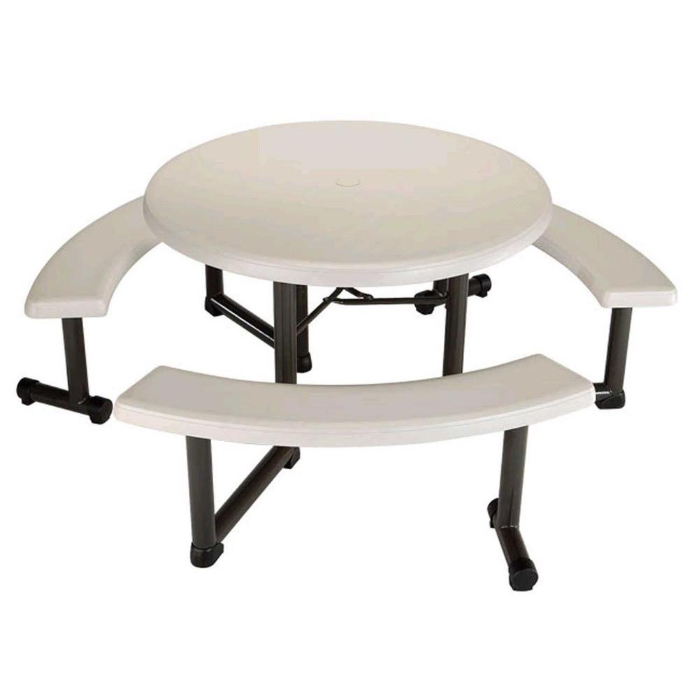 Prime Lifetime 44 In Round Picnic Table With 3 Benches Pdpeps Interior Chair Design Pdpepsorg