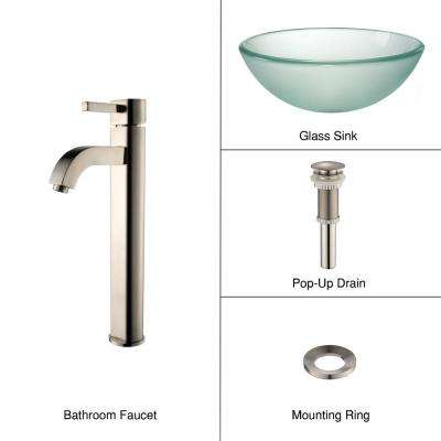 Frosted Glass Vessel Sink in Clear with Single Hole Single-Handle High-Arc Ramus Faucet in Satin Nickel