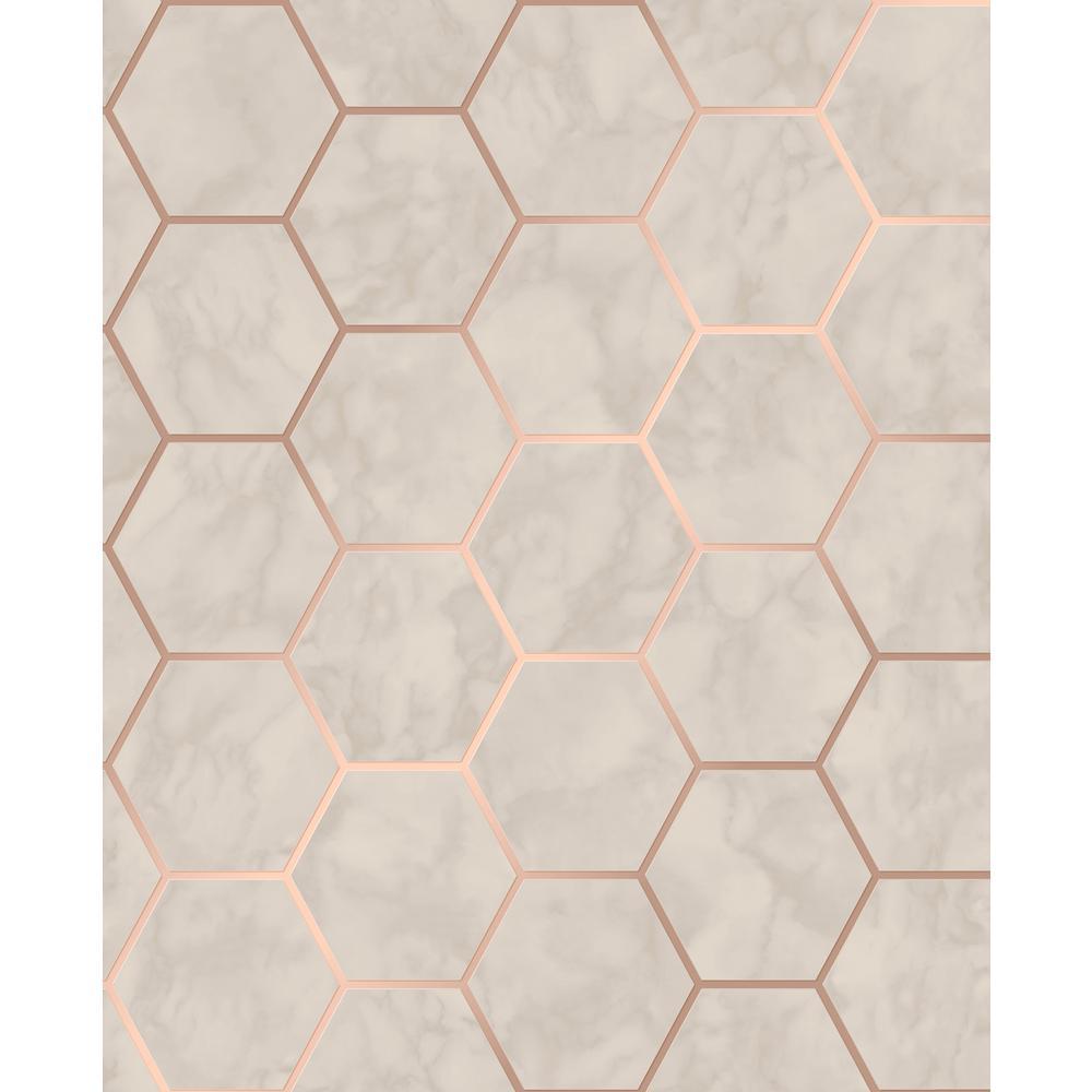 Margaret Beige Marble Hexagon Wallpaper